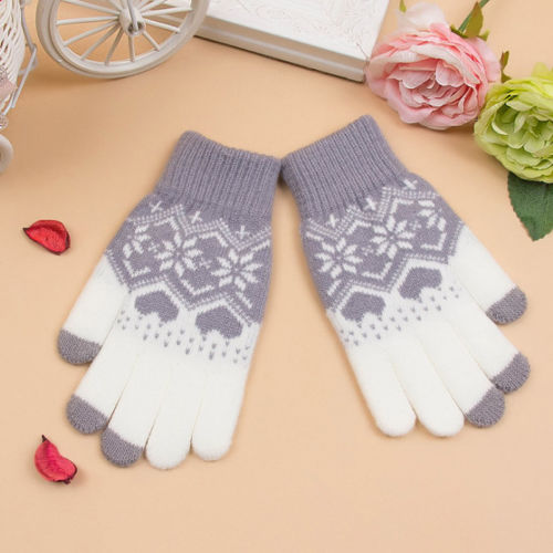 Fashon Winter Warm Touch Screen Soft Wool Males Females Floral Gloves Women Men Warmer Mittens