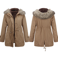 Women Winter Fur Collar Jackets Coats Fashion Faux Fur Hooded Drawstring Parkas Casual Cotton Wadded Long Parka Laidies Overcoat