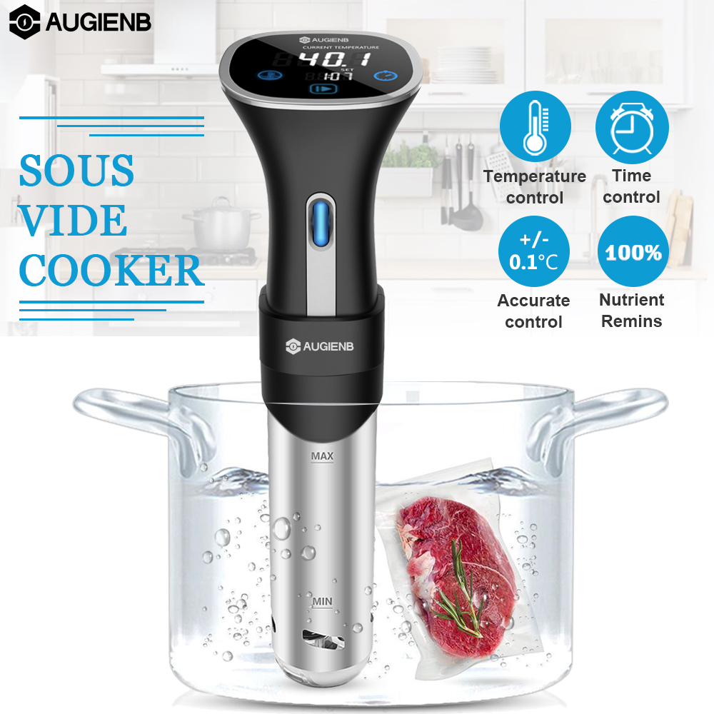 AUGIENB Slow Sous Vide Precision Food Cooker Immersion Heater Circulator LCD Digital Timer Display Acero inoxidable EU/US Plug