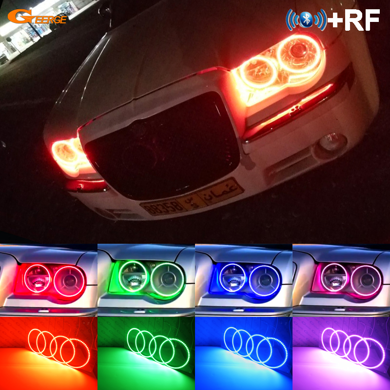 Untuk Chrysler 300C 2004 2005 2007 2008 2009 2010 RF Bluetooth APP Controller Multi-warna Ultra terang RGB LED Angel Eyes kit