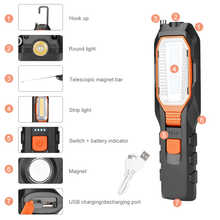 COB LED Work Light Adjustable Inspection Lamp Magnetic Hand Torch USB Rechargeable Camping Lantern With Hook Magnet Pick Tools