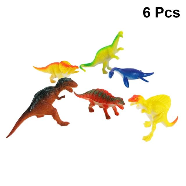 6 PC Sólida Brinquedo Dinossauro Modelo Animal Simulação PVC 5.5 Polegadas Ornamentos Estáticos para Crianças