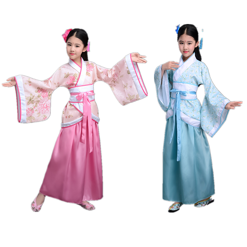 National Ancient Chinese Woman Dance Hanfu Girls Traditional Chinese Party Stage Dress New Year Kids Performance Tang Suit
