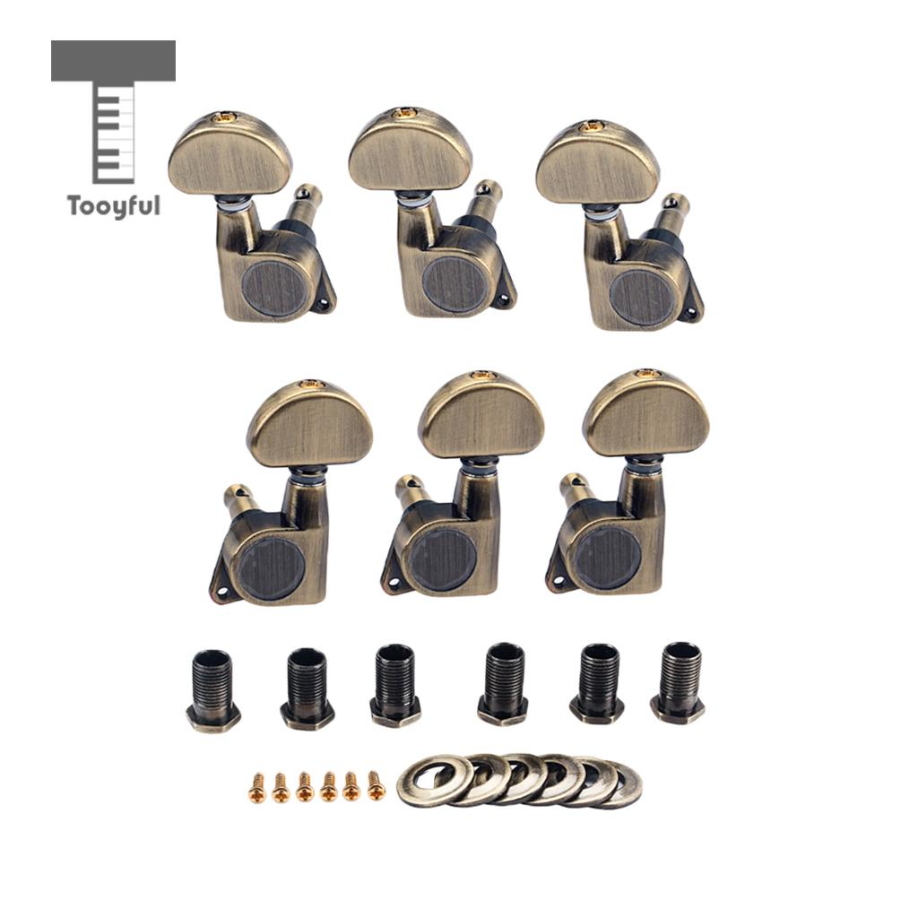 Tooyful 1 Set 3R3L Electric Guitar 1:18 Gear Ratio Machine Heads Tuning Pegs Tuners with Ferrules Screws Bronze