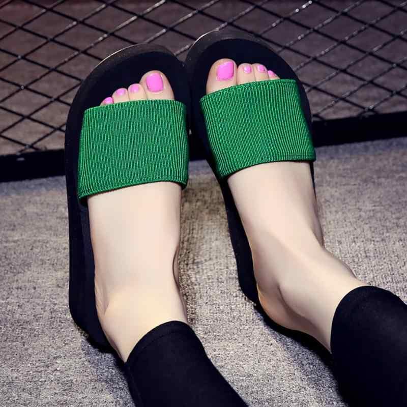 fe08243c4872 Women EVA Antiskid Flange Slipper Summer Beach Platform Sandals Slip on  Platform Slippers