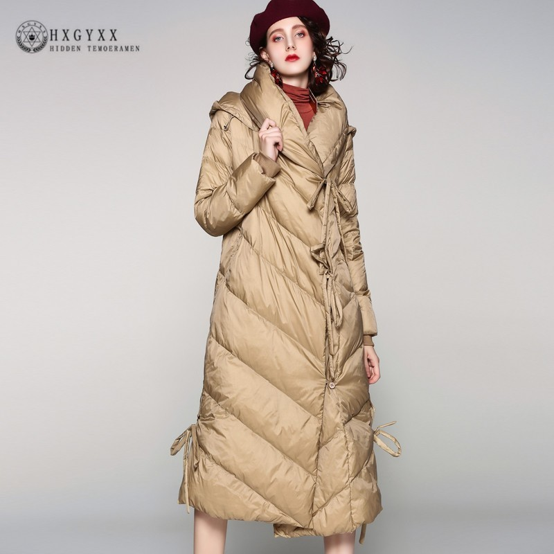 Long 2019 Winter Women's Puffer Jacket Bandage White Duck   Down     Coat   Plus Size Thick Warm Hood Outerwear Snow Overcoat Okd553