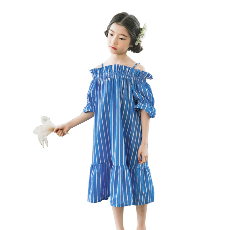 4-16 years big girls summer dress cotton short sleeve blue stripe girls dresses for party and wedding kids vintage frocks4-16 years big girls summer dress cotton short sleeve blue stripe girls dresses for party and wedding kids vintage frocks