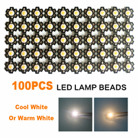 100pcs LED COB Chip Bulb Diodes Lamp DIY SMD Cool/Warm White Light Beads Round With Star PCB High Power 3W
