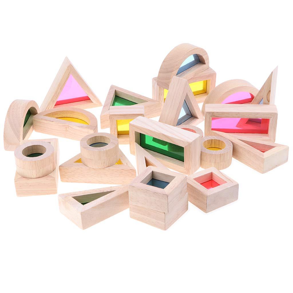 24 pièces Blocs Géométriques En Bois la Coordination Oeil-main Montessori Éducatif Toysbirthday Cadeau pour Enfants Enfants