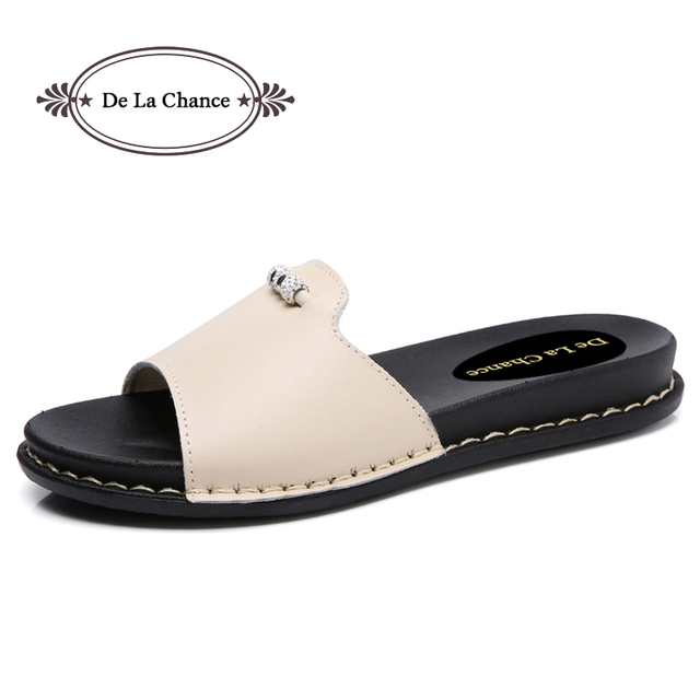 b21a0b3db961 Designer 2018 New Summer Lolita Woman Leather Solid White Rhinestone Flip  Flops Shoes Female Flat Sandals Slide Shoe Slippers