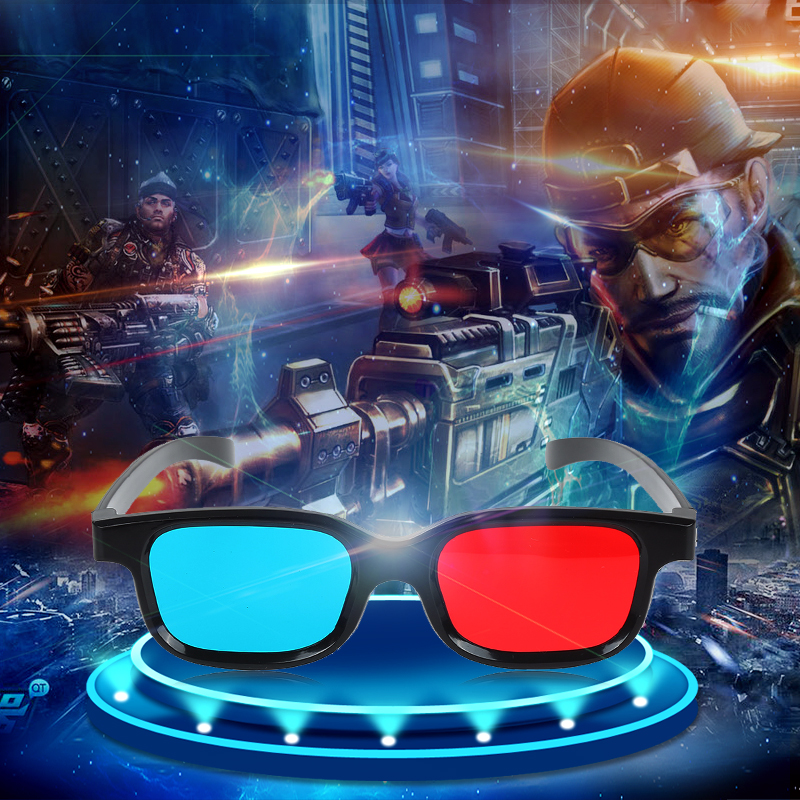new Universal Black Frame Red Blue Cyan Anaglyph 3D Glasses 0.2mm For <font><b>Movie</b></font> Game DVD 3D Plastic glasses/Oculos/Red Blue Cyan image