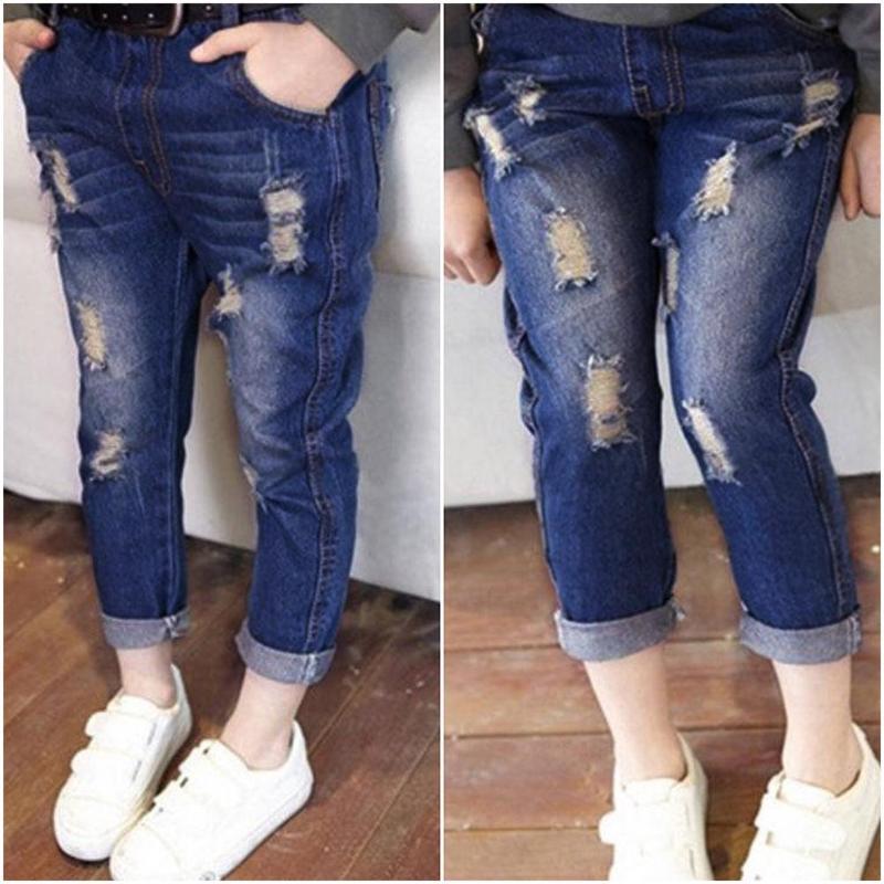 Ambitieus Lente Herfst Nieuwe Gat Jeans Meisje Vintage Denim Broek Elastische Taille Denim Broek Casual Gaten Hollow Herfst Broek