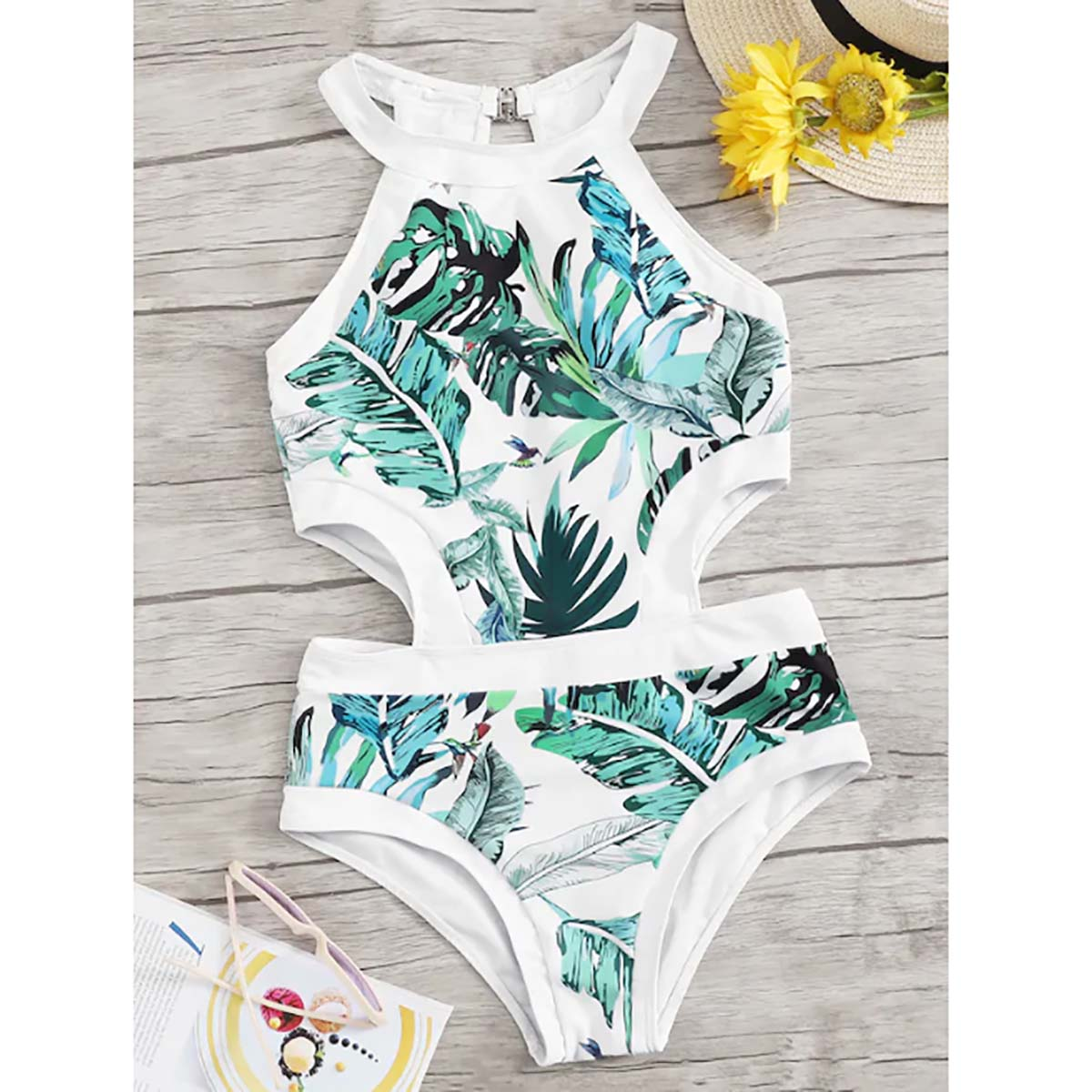 Tropical Leaf Print One Piece Swimsuit 2019 Sexy Women Swimwear Strappy Padded Swimming Suit For Women Back W Bodysuits Monokini