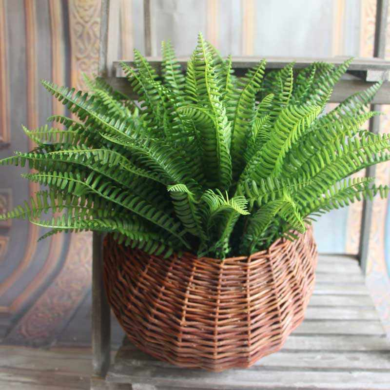 7 Branches Artificial Fern Leaves Plastic Artificial Silk Plants Green Fake Plants For Home  Party Wedding Decoration