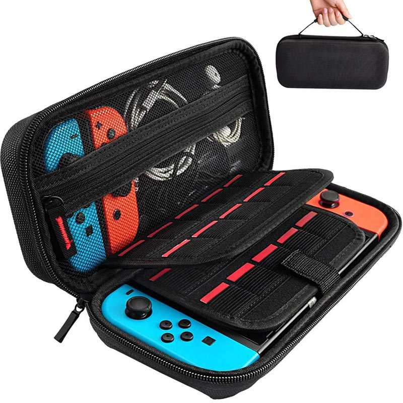 Hard Portable Travel Carry Case Shell Pouch for Nintendo Switch Console & Accessories with 20 Game Cartridges