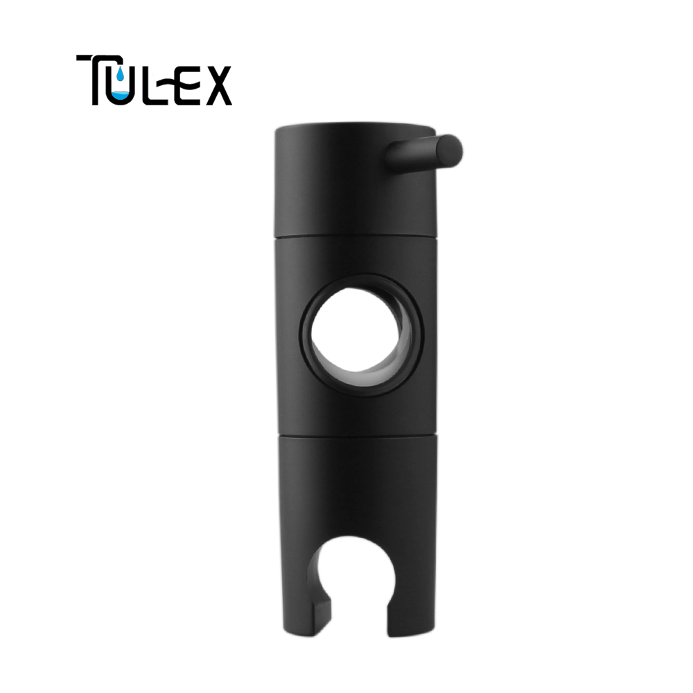 TULEX Black Hand Held Shower Head Holder For Slider Bar 19-25mm Height & Angle Adjustable Sprayer Holder Shower Replacement Part