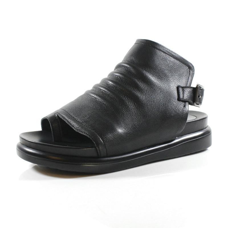 Bottes Haute De Cheville Sandale Talons Plat Femmes Noir Genou Cuir Bérets D'été Printemps En Chaussures Bl dfA5Rq