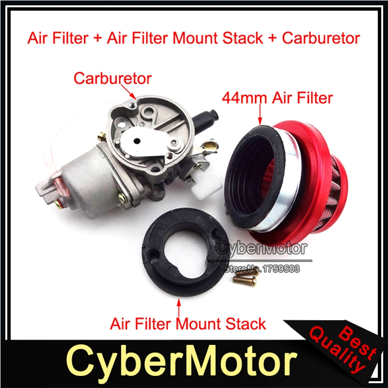 Minimoto Carburetor Carb Carby Red Air Filter Stack For 2 Stroke 47cc 49cc Engine Parts Mini Moto Kids ATV Quad Dirt Pocket Bike throttle hand grips brake levers throttle housing set for goped gas scooter 43cc 47cc 49cc minimoto bicycle parts