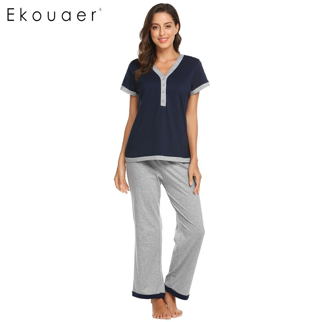 Women sleepwear pajamas set short sleeve v neck elastic waist long pants pyjamas set female soft cotton nightwear s-xxl