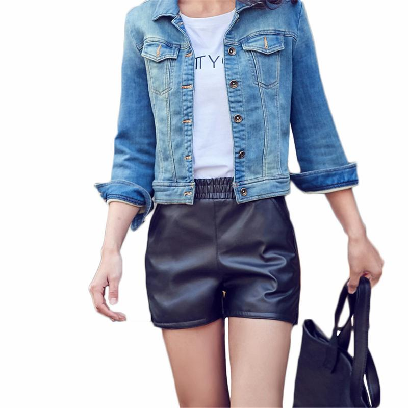 Women's Wide Leg Leather Wild Slim Boots Trousers Wear Large Size PU Leather   Shorts