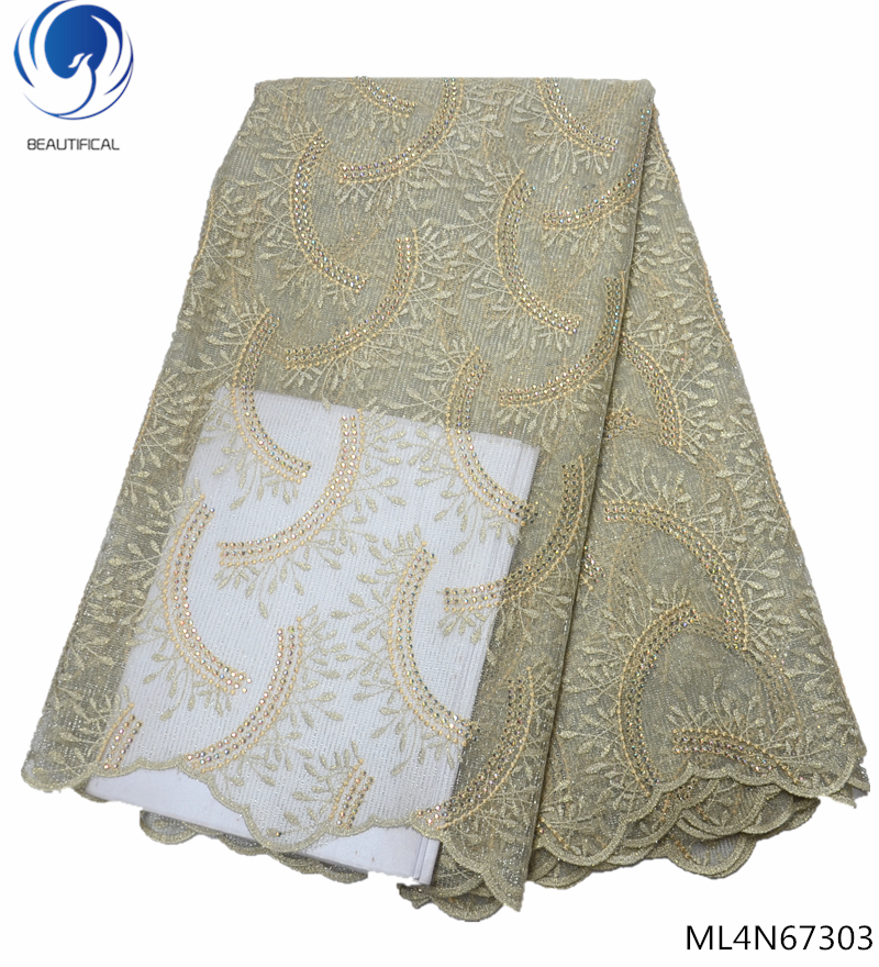BEAUTIFICAL french lace material embroidery fabric bridal lace fabrics high quality 2019 lace fabric 5yards with stones ML4N673