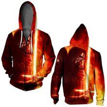 9fb23d2a2 Star Wars sudaderas con capucha cremallera impresión sudaderas con capucha  3D diseño sudaderas para hombres Casual