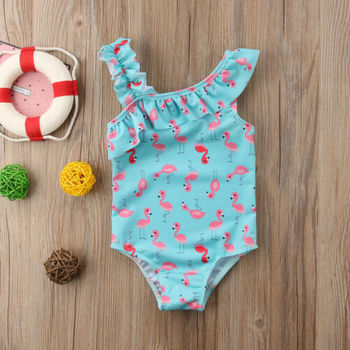2021 New Baby Cute Toddler Kids Girls Flamingo One Shoulder Bikini Swimsuit Swimwear Bathing One-piece Outfits