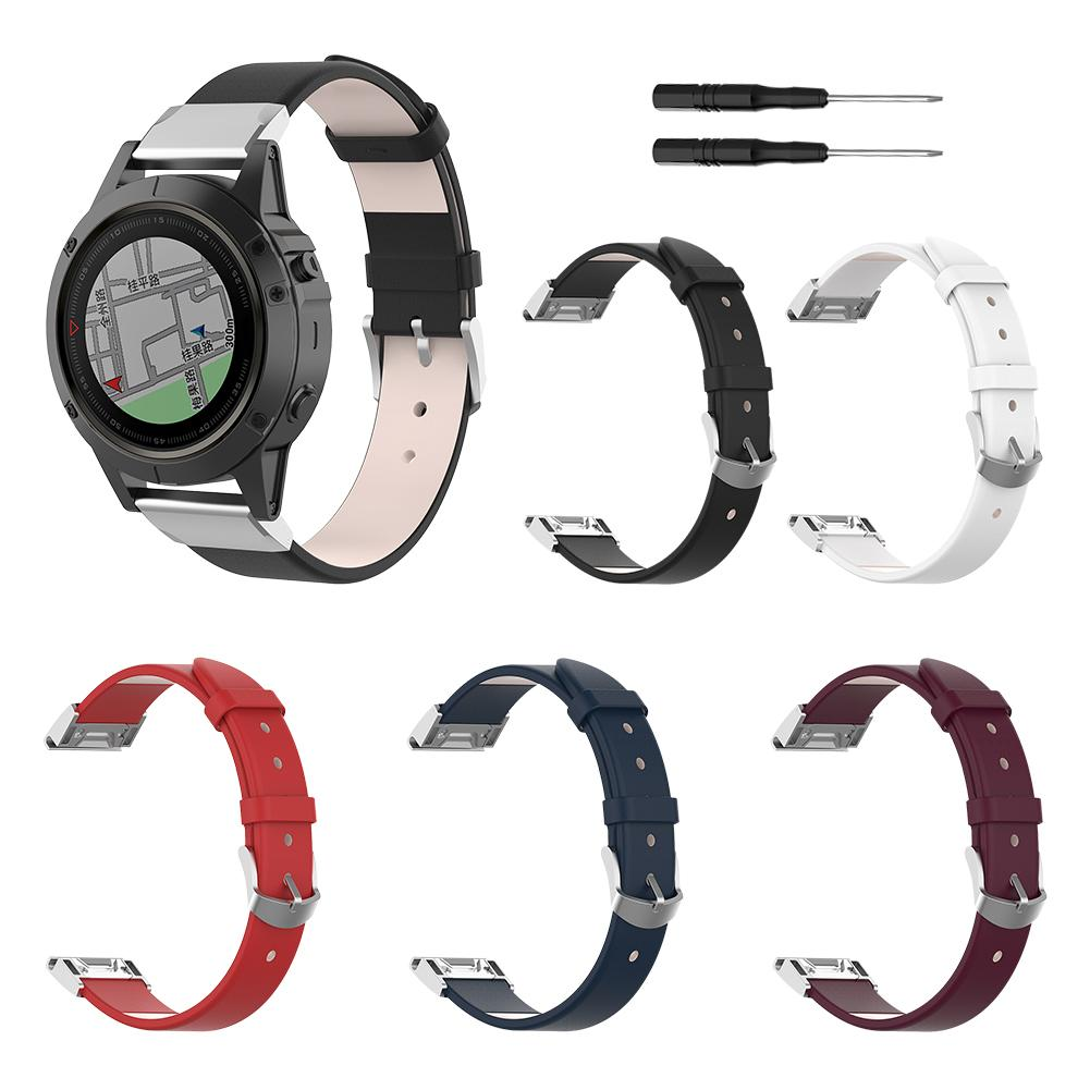 Image 2 - 22MM Wide Universal Quick Release Leather Strap For Garmin Fenix 5 For Garmin Forerunner 935 For Garmin Quatix 5 For Garmin-in Smart Accessories from Consumer Electronics