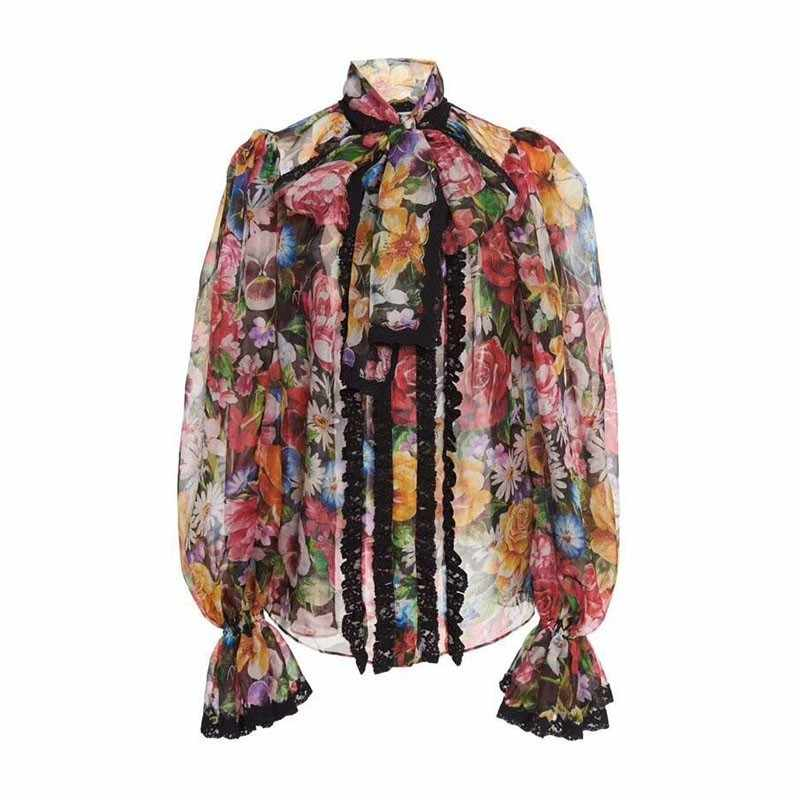 TWOTWINSTYLE Women's Shirts Blouse Bowknot Flare Long Sleeve Patchwork Lace Print Tops Female Elegant Fashion 2019 Spring New