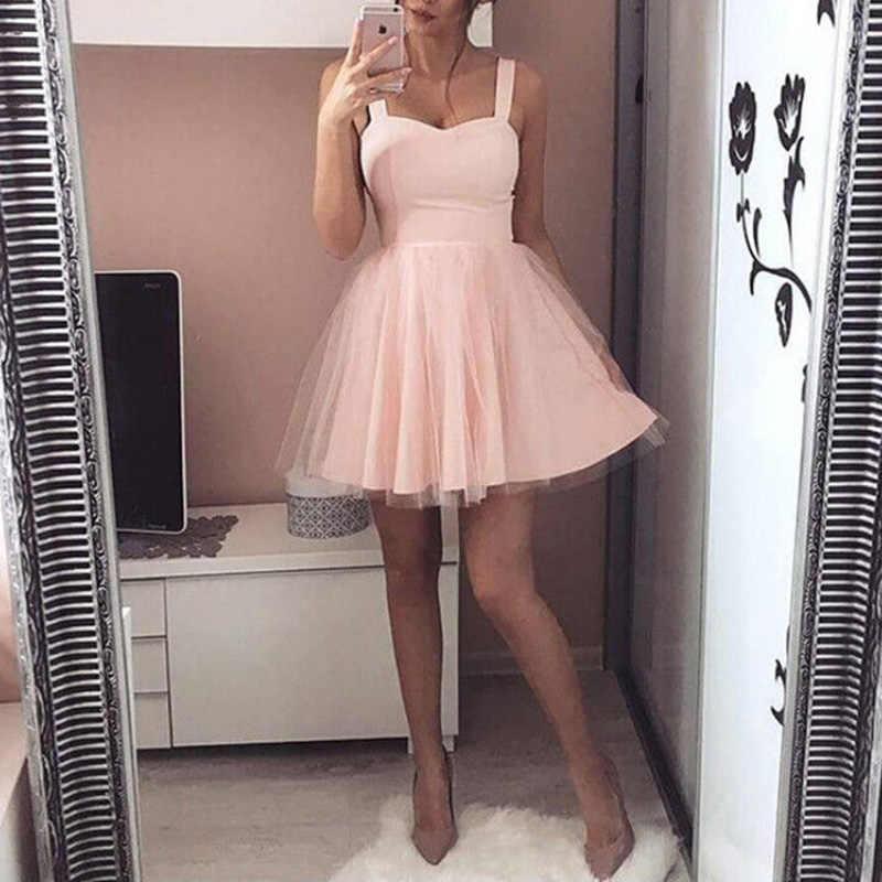 2019 Nieuwe Vrouwen Mini Mesh Jurk Elegant Casual Mouwloze Avondfeest Prom Gown Tutu Sexy Dames Jurk Kostuum Zomer Mode