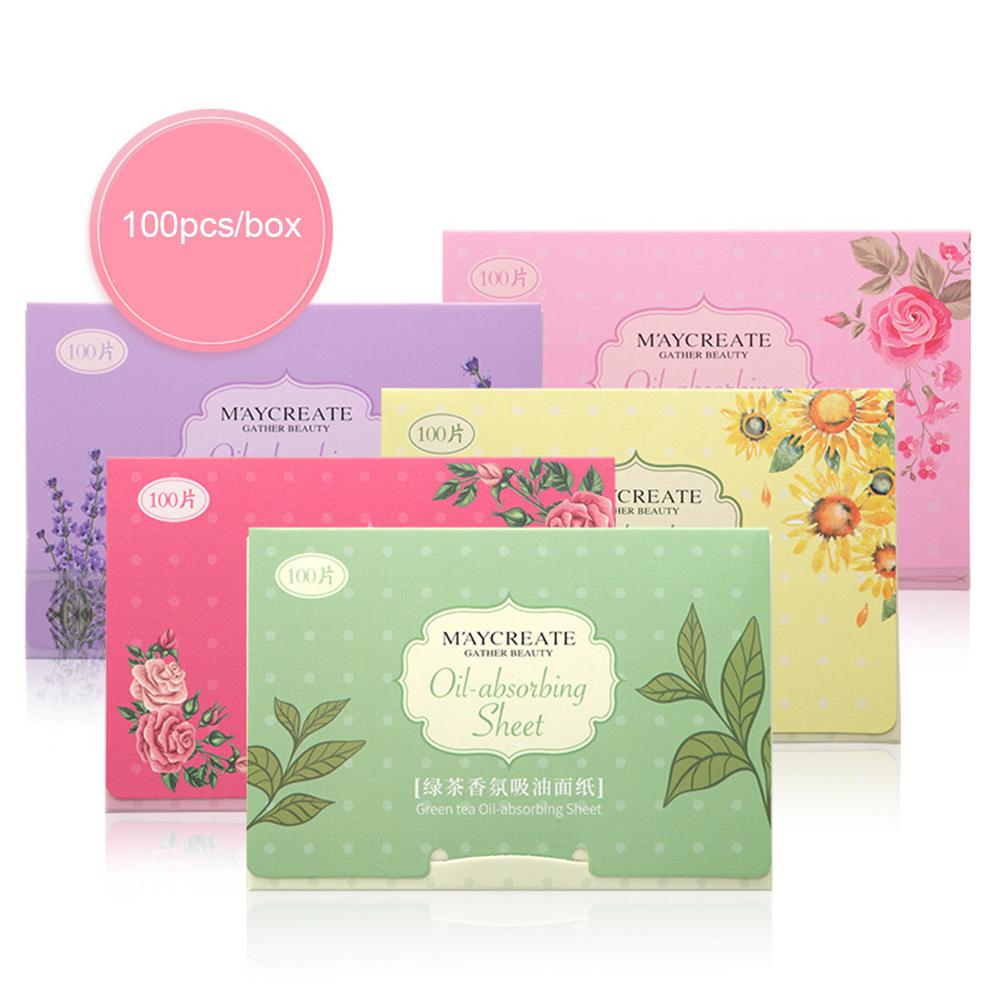 100pcs Korea Fragrant Tissue Paper Face Oil Absorbing Paper Plant Fibres Breathable Blotting Handkerchief Color Random Delivery