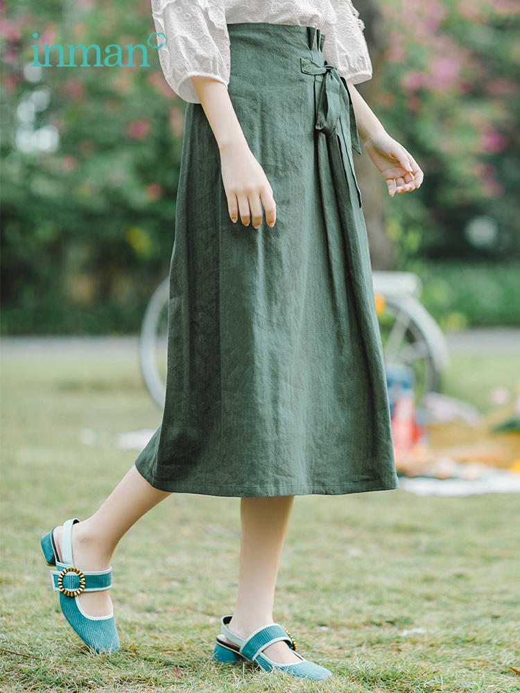 INMAN Summer High Waist Literary Retro Defined Waist Lacing Slim Casual All Matched A-line Women Skirt