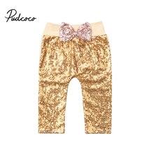 Pudcoco/повседневные штаны для маленьких девочек гетры расшитые блестками Длинные штаны-шаровары с бантом одежда для детей