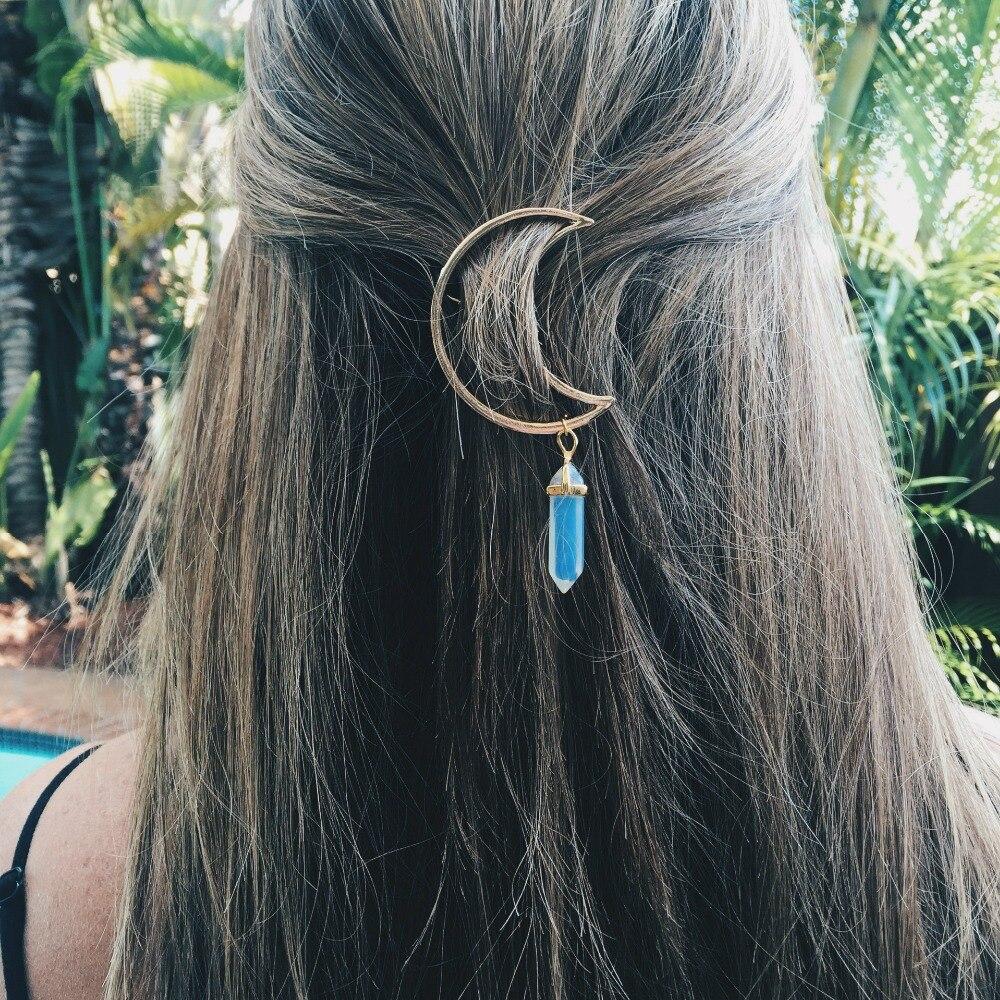 Sedmart Crescent Moon Haar Clips Quarz Natürliche Stein Hexagon Prism Charming Haarnadel Headwear Geschenke Kopfschmuck Für Frauen 8 Farben äRger LöSchen Und Durst LöSchen Schmuck & Zubehör