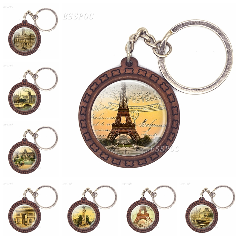 Arc De Triomphe Notre Dame De Paris Eiffel Tower Art Wooden Keychain Glass Cabochon Jewelry Women Men Pendant Key Chain Gifts