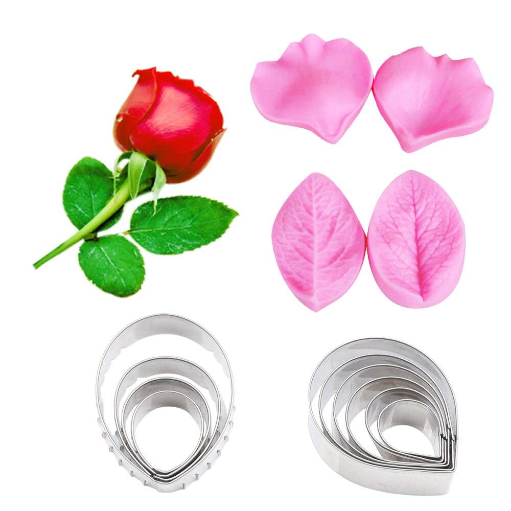 Veiner y cortador de flores rosas, moldes de silicona para Fondant, pasta de azúcar, pasta de goma, arcilla de agua, decoración de pasteles de papel CS262