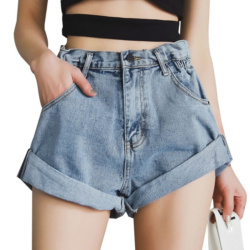 Women Summer High Waist White Denim   Shorts   Women Khaki Wide Leg   Shorts   Elastic Waist Vintage Loose Jeans   Shorts