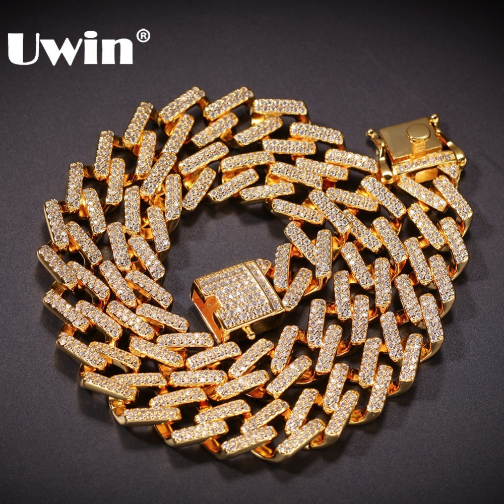 UWIN 14mm Prong Cubans Link Necklaces Iced Cubic Zirconia Gold White Gold Color Hiphop Chain Jewelry