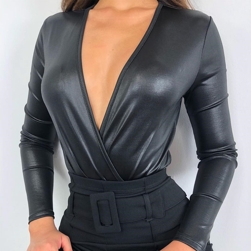 Sexy Women PU Leather Bodysuit Deep V Neck Leotard Top Bodysuits Womens   Rompers   Jumpsuits Long Sleeve Clubwear