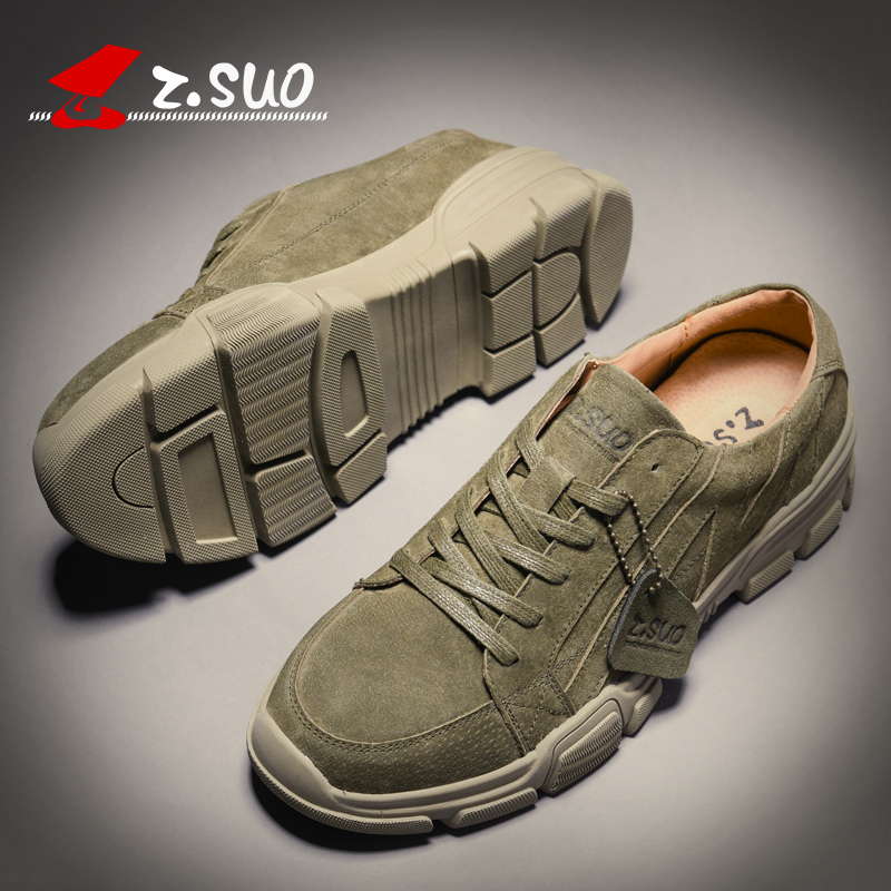 ZSUO Brand Spring NEW Men's Casual Shoes For Man Fashion   Suede     Leather   Breathable Outdoor Sneakers Shoes Men Army Green