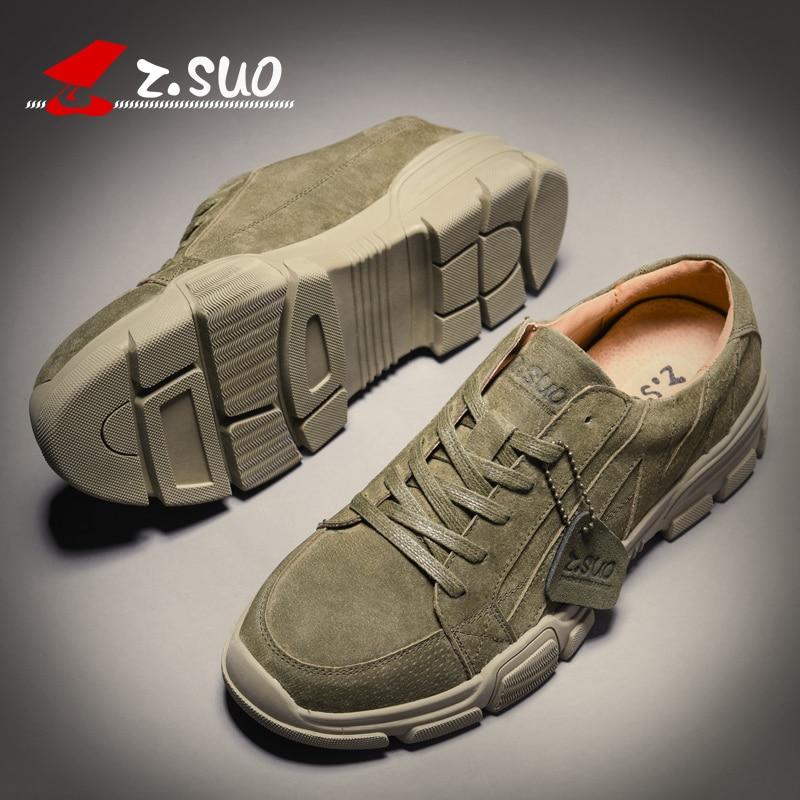 Chaussures Homme Marque D'extérieur black En green Nouveau Respirantes Armée Cuir De Décontractées Zsuo Vert Suédé Hommes Sandy Pour Mode Baskets Printemps EIWH2D9