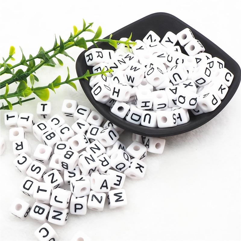 Chenkai 100pcs 10mm White Plastic Letter Beads DIY Square Acrylic Alphabet Baby Pacifier Dummy Jewelry Nursing Toy Cube Bead