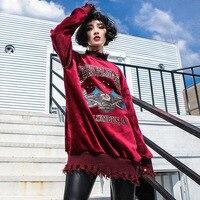 #5539 2018 Autumn Winter Thickening Loose Hoodies Women Oversize Velour Hoddie sweatshirt Hip Hop Sweatshirt Knitted Round Neck