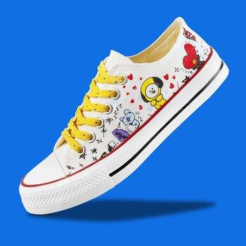 New Kpop Bts Bangtan Boys Bt21 Low Tops Canvas Shoes Jung Kook Jimin V Suga Women Casual Soft Non-slip Shoes Drop Ship slip-on shoe