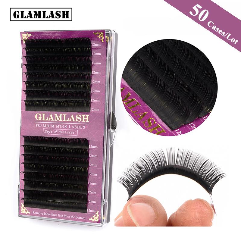 GLAMLASH Wholesale 50 Cases 16Rows korean pbt 0.03mm-0.25mm mink eyelash extensions individual natural soft false lashes cilios