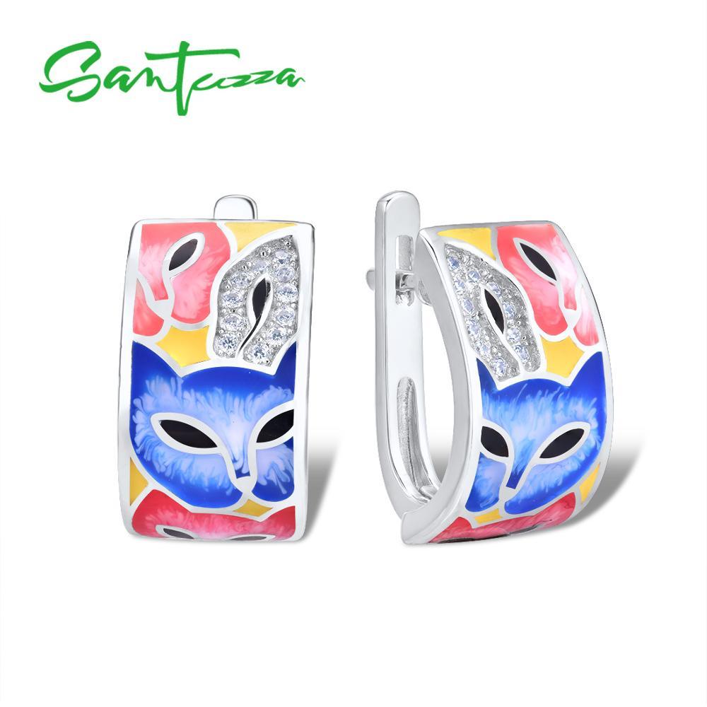 SANTUZZA Silver Earrings For Women 925 Sterling Silver with White CZ Hand made Enamel Lovely Cat Unique Earring Fashion JewelryEarrings   -