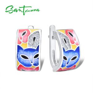 Image 1 - SANTUZZA Silver Earrings For Women 925 Sterling Silver with White CZ Hand made Enamel Lovely Cat Unique Earring Fashion Jewelry
