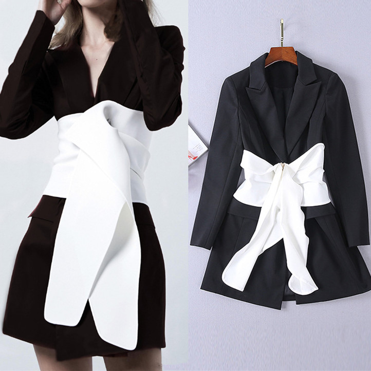 Femmes nouvelle mode col rabattu Empire Blazer robe élégante fermeture éclair Patchwork arc à manches longues a-ligne Mini robes