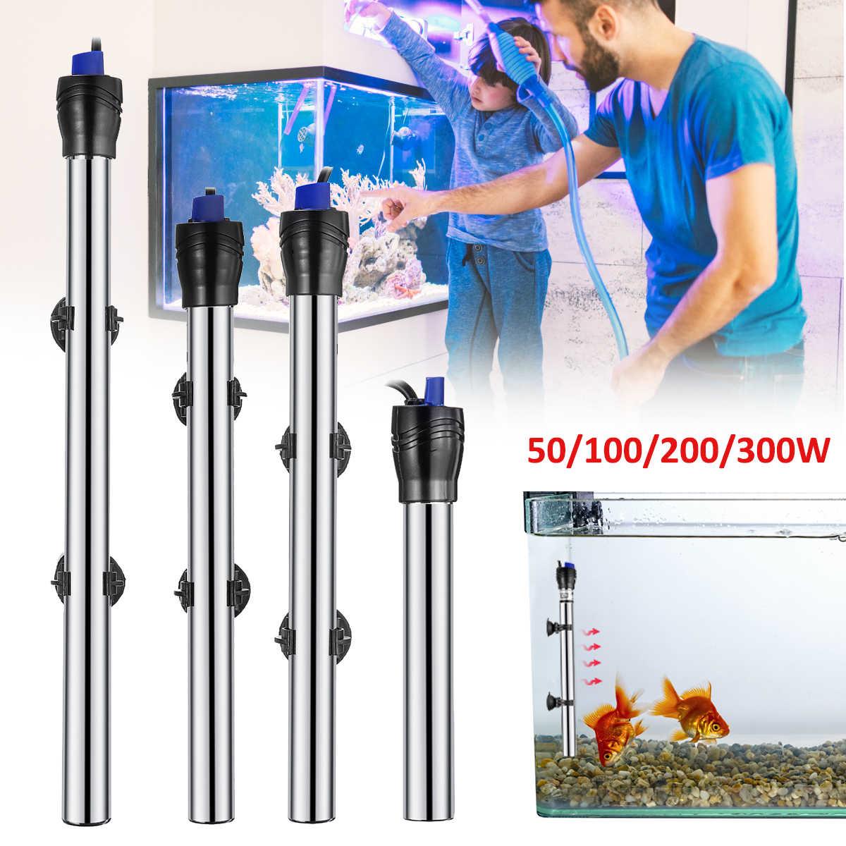 50/100/200/300 W Stainless Steel Submersible Water Heater Penghangat Ruangan Rod Apo untuk Ikan Aquarium Tank kontrol Suhu Konstan
