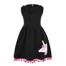 AmzBarley Baby Girl Unicorn Toddler Pony Sleeveless Ruffle Dress Tops With Pompom Tassels Dresses